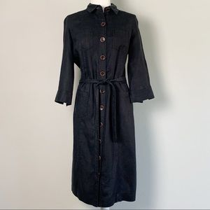 Boden Black Linen Button Down Shirt Dress- 12 Long